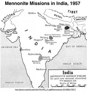 Mennonites in India map