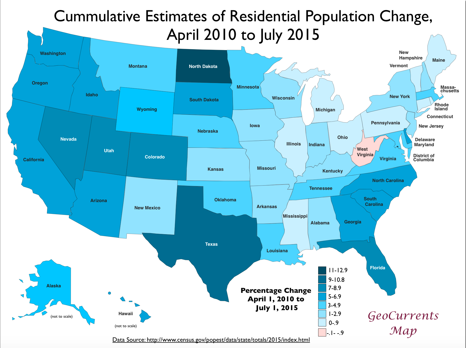 Usa 2010 2015 Population Change Map