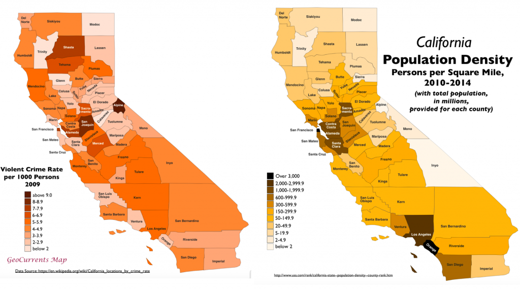surprising patterns in geography of crime in california