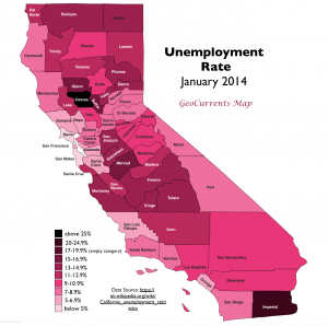 California Unemployment rate map