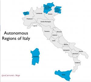 Italy Autonomous Regions Map