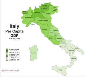 Italy Per Capita GDP Map
