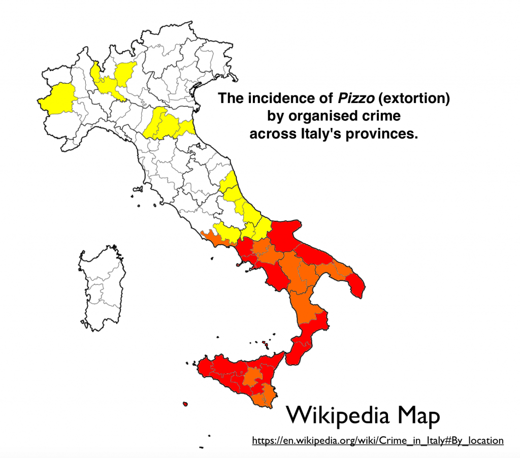 as can be seen the poorest regions of italy are all plagued by high extortion rates