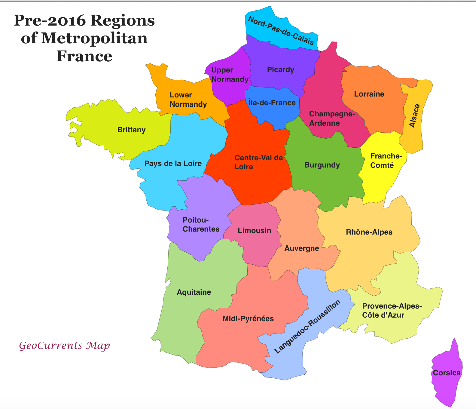 Customizable maps of france and the new french regions geocurrents pre 2016 regions of france map gumiabroncs Choice Image