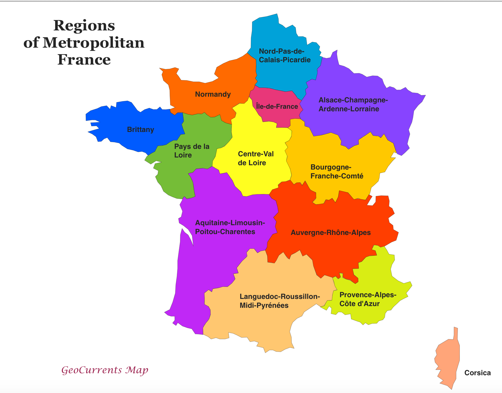 Customizable maps of france and the new french regions geocurrents regions of france map gumiabroncs Choice Image