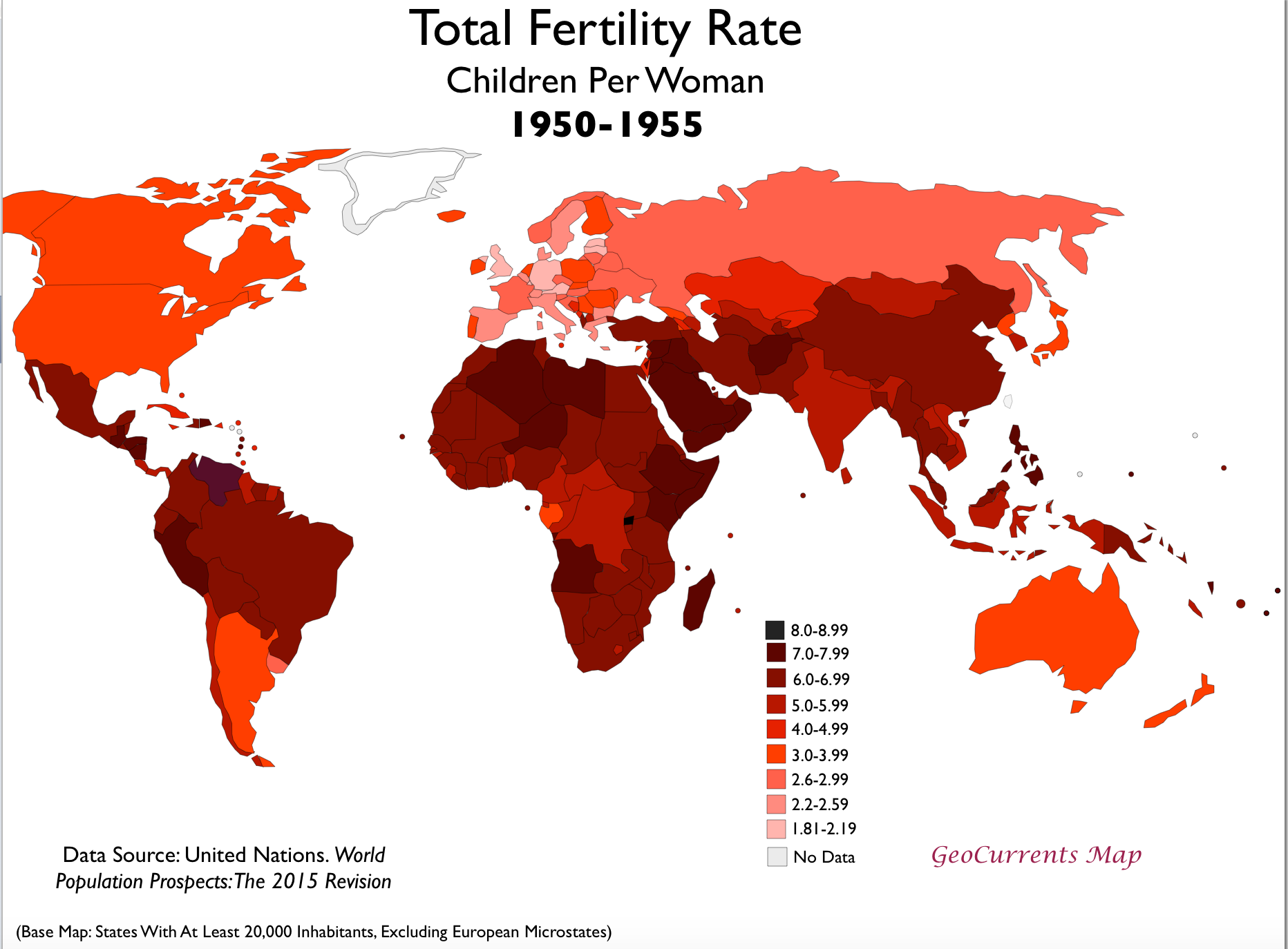 Total fertility rates by country 1950 and 2015 geocurrents tfr 1950 1955 world map gumiabroncs Image collections