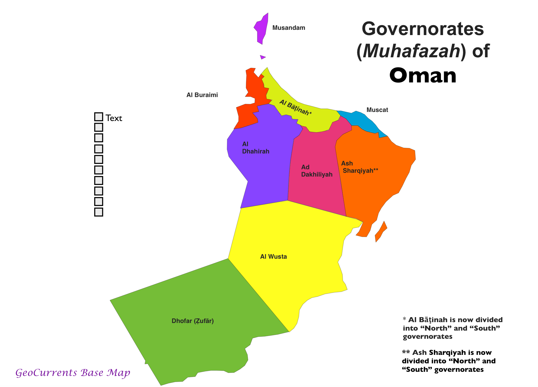 as in governorates of oman