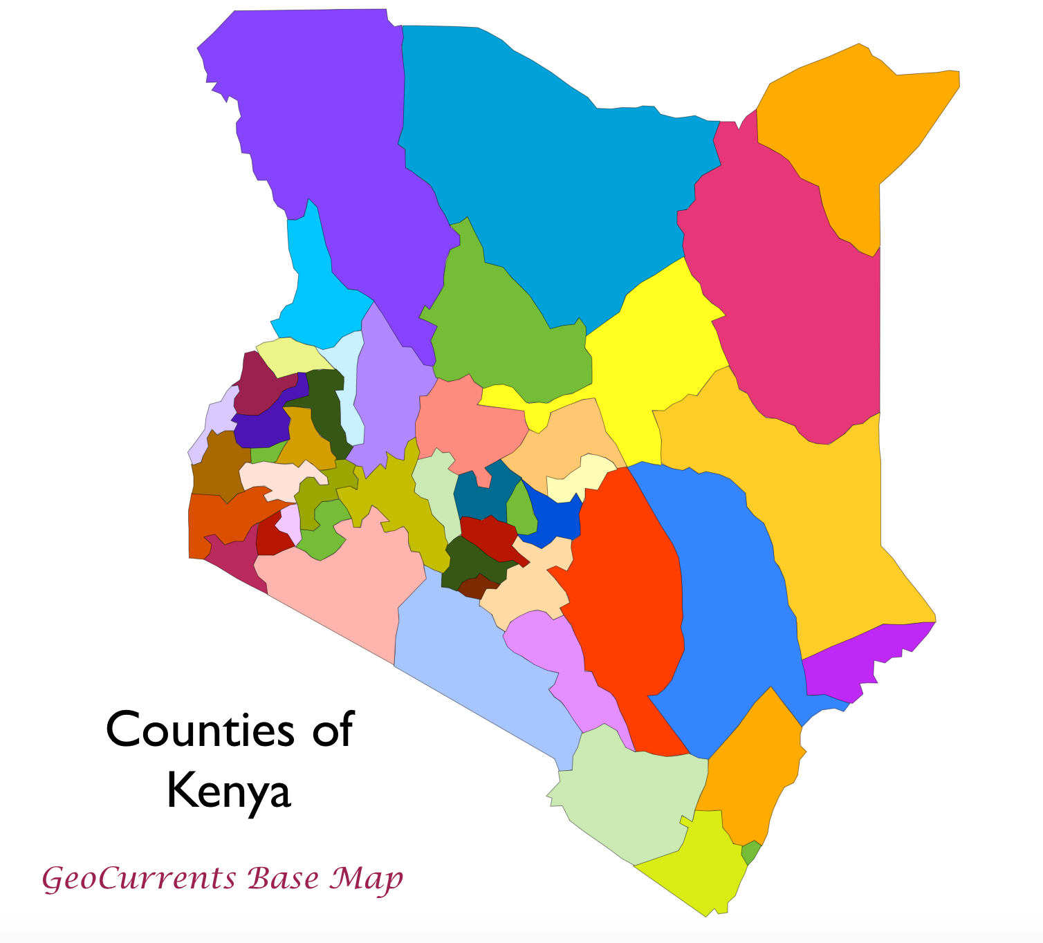 Geocurrents maps of administrative divisions within states counties of kenya base map gumiabroncs Choice Image