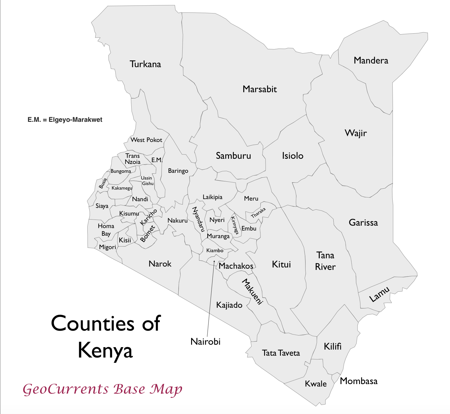 kenya county names map