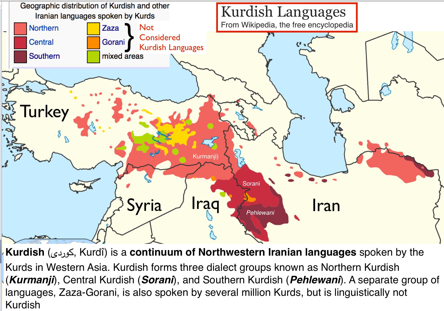 kurdish languages map