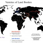 Map of the variety of international land borders
