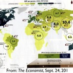 Map of global GDP from The Economist Magazine