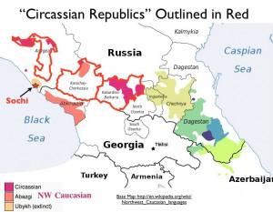 Map of Circassian Republics