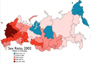 Map of Russia Sex Ratio