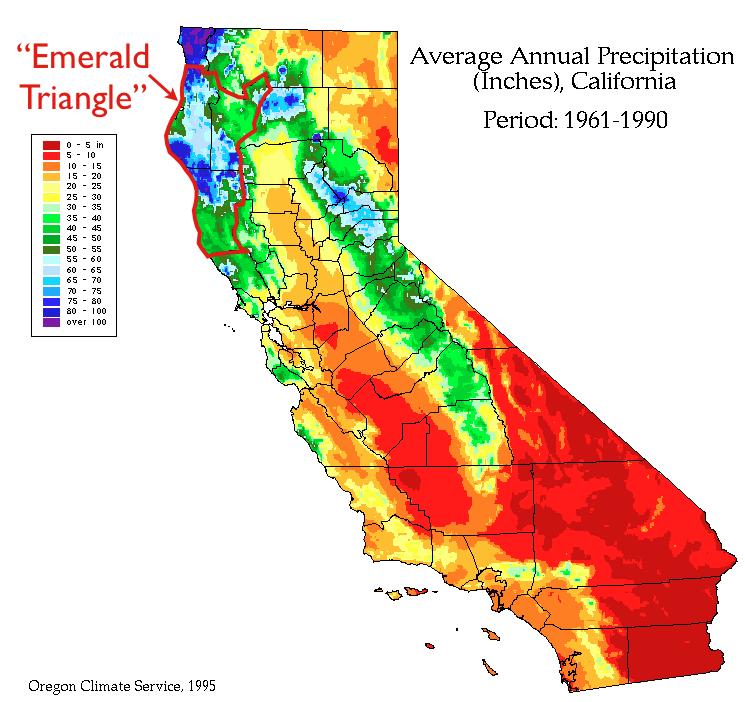 Rain Map California California Precipitation Emerald Triangle Map   GeoCurrents Rain Map California