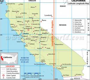 Longitude of LA Map