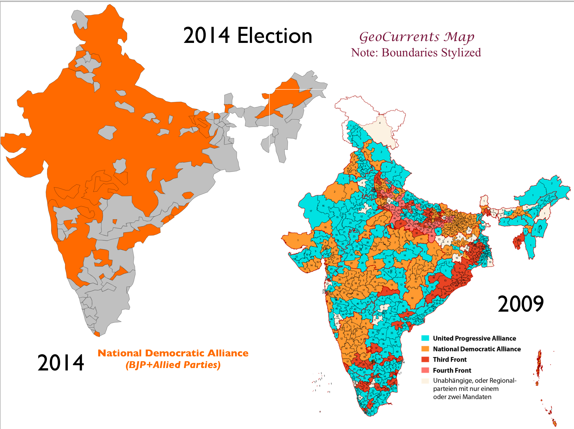 India Map 2014 Regional Patterns in India's 2014 General Election