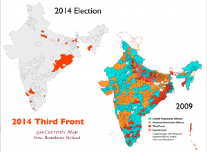 India 2019 2014 Election Third Front map