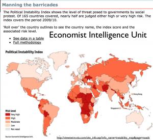 Economist Political Instablity Map