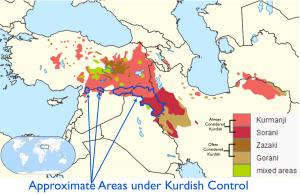 Kurdish Language and Kurdish Control Map