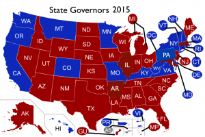 2015 US Governors Map