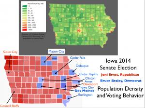 Iowa 2014 Election Population Map