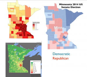Minnesota Voting and Popuation Density Map