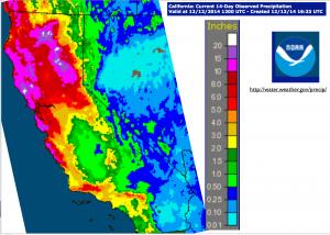 California Early December 2014 Rain Map