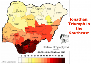 Nigeria 2015 election Jonathan Vote Map