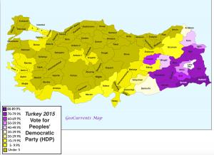 Turkey 2015 Election HDP map