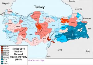 Turkey 2015 election MHP Vote Map