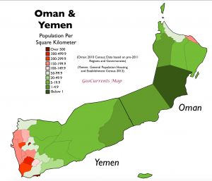 Oman Yemen Population Density Map
