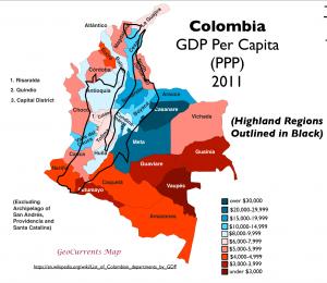 Colombia GDP per capita map 2