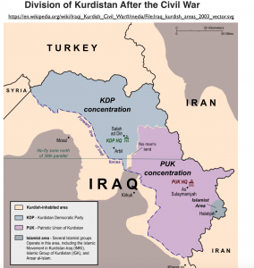 1995 Divided Iraqi Kurdistan Map