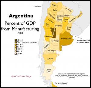 Argentina GDP from Manufacturing Map