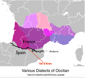 Dialects of Occitan Map