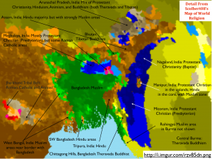 Northeastern South Asia Religion Map Annotated