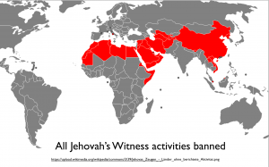 Jehovah's Witnesses Banned Map