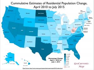 USA 2010-2015 Population Change Map