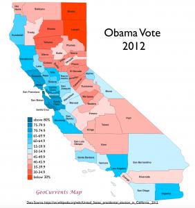 California 2012 Obama Vote Map