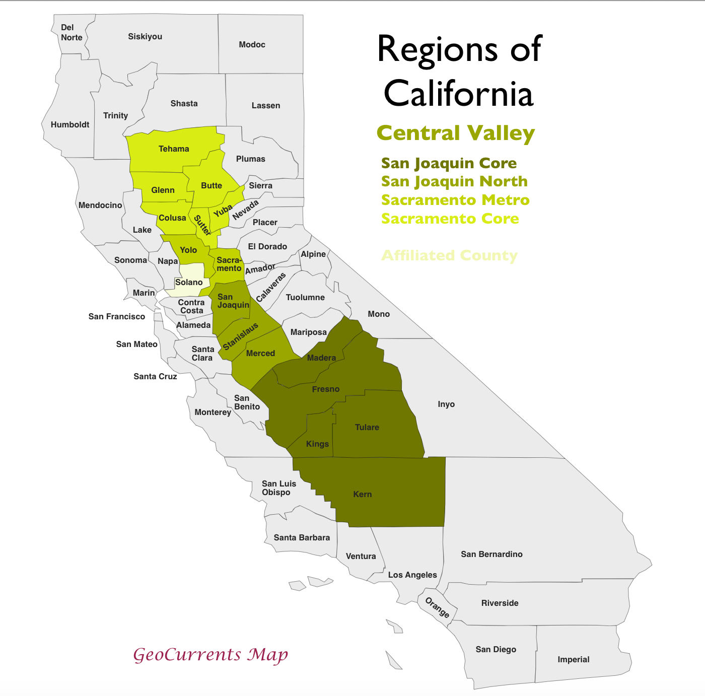 Central Valley California Map The Regionalization of California, Part 2