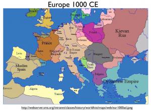 Europe 1000 map