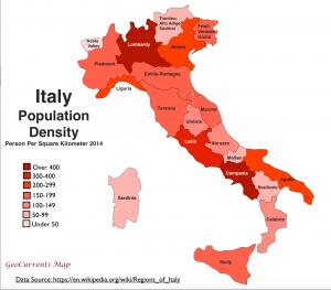 Italy Population Density Map