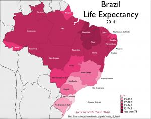 Brazil Life Expectancy Map