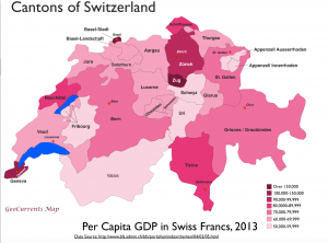 Switzerland Per Capita GDP Map